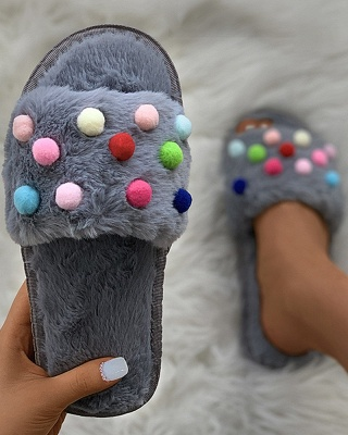 Pom Pom Colorblock Fluffy Slippersa_11