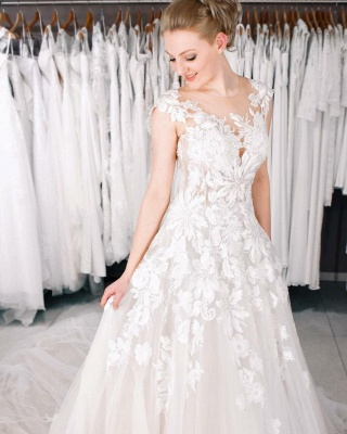 Cheap A Line Lace V Neck Sleevelss Wedding Gowns_2