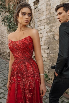 Floor Length Tulle Sweetheart Floral Partten Prom Dresses_3