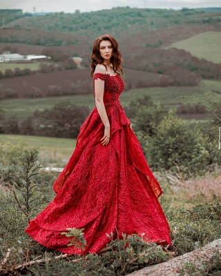 Glamorous Red Lace Off-Shoulder Beadings Prom Dress with Ruffles_2