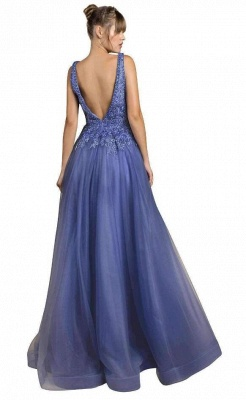 Cheap Floor Length Deep V Neck Lace Tulle Prom Dresses_2