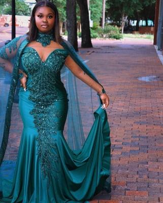 Glamorous Mermaid Prom Dresses Long Sleeve Floor Length Evening Gowns_6