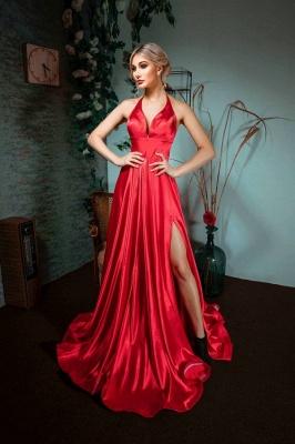 Sexy Halter Sleeveless Silk-like Satin Ruffles Prom Dress with Slit_1
