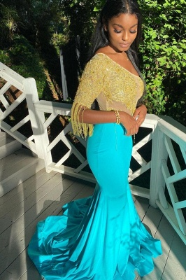 Mermaid Evening Gowns Short Sleeve Appliques_3
