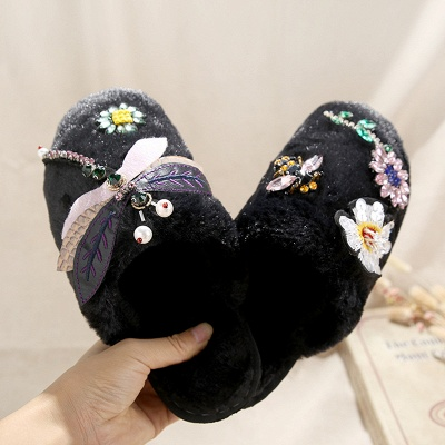 Floral Pattern Rhinestone Fluffy Slippers_3
