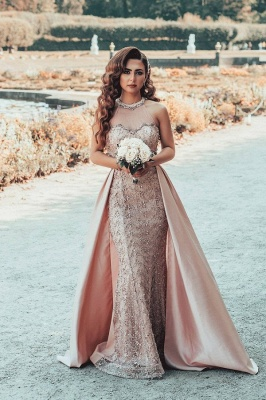 Gorgeous Floor Length Mermiad Pink Lace Jewel Prom Dresses_1