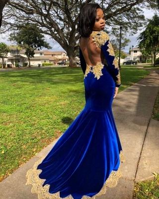 Gold Prom Dress Royal Blue Velvet Long Sleeve Mermaid Evening Gowns_5