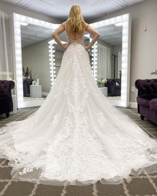 Fashion V-Neck Straps Tulle Lace Wedding Dress with Open Back_2