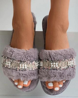 Fringe Beaded Fluffy Slippers_4