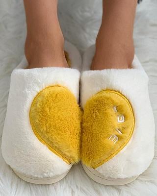 Heart Letter Pattern Fluffy Slippers_10