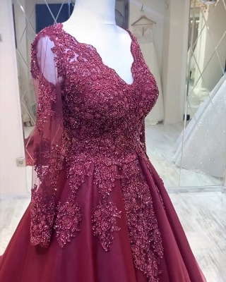 Elegant V-Neck Tulle Lace Long Sleeves Prom Dress with Beadings_3