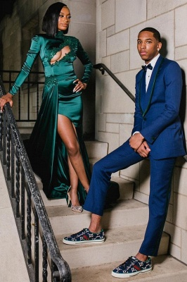 Sexy Dark Green Appliques Side Split Prom Dress Long SLeeve_2