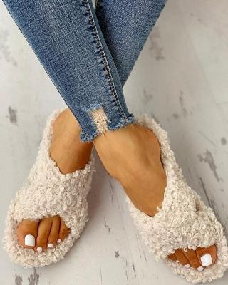 Solid Fluffy Crisscross Design Flat Sandals_10