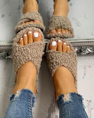 Solid Fluffy Crisscross Design Flat Sandals_18