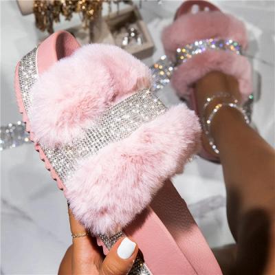 Fashion Rhinestone Woollen Shoes Women Woollen Slippers On Sale_9