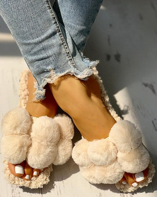 Villus Fluffy Casual Flat Sandals_11