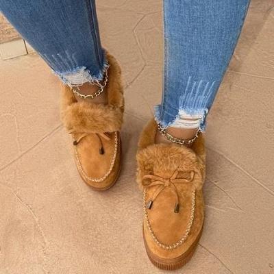 Fashion Daily Round Toe Fashion Warm Fur Flat boots On Sale On Sale_14