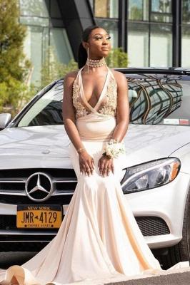 Halter Prom Dresses Deep V-Neck Appliques Mermaid Evening Dresses_2