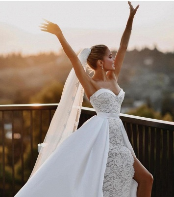 Sexy Satin Lace Sweetheart Wedding Dress with Overskirt_3