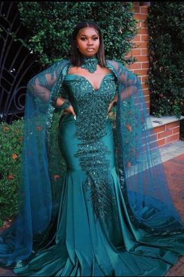 Glamorous Mermaid Prom Dresses Long Sleeve Floor Length Evening Gowns_1