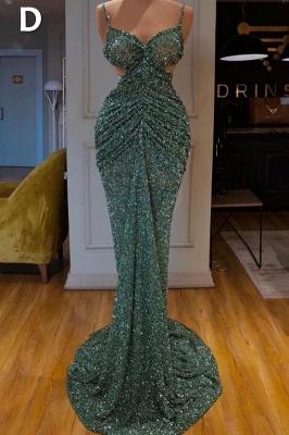 Glitter Off the Shoulder Slim Mermaid Prom Dress Sleeveless Mermaid Evening Gowns_5