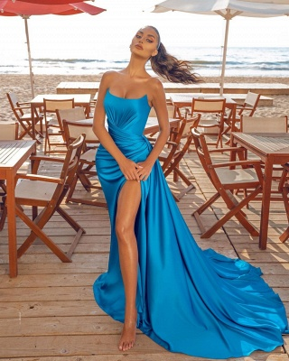Sexy Sleeveless Blue Prom Dresses Evening Party Dresses_2