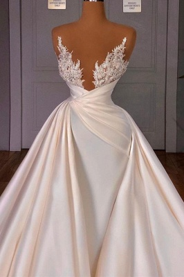 Chic Long Sleeves Satin Tulle Wedding Dress with Ruffles_1