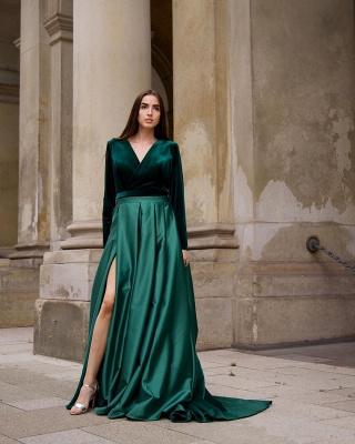 Chic V-neck Long Sleeves Satin Velvet Prom Dress with Slit_3