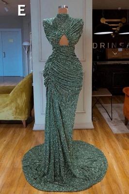 Glitter Off the Shoulder Slim Mermaid Prom Dress Sleeveless Mermaid Evening Gowns_6
