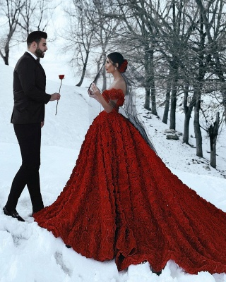 Off the Shoulder 3D Floral Printed Ball Gown Prom Dresses for Girl_7