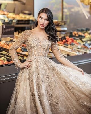 Elegant Floor Length Lace Tulle Long Sleeveless Wedding Dresses_5