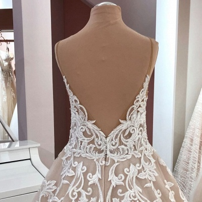 Cheap Lace Tulle Floor Length Wedding Gowns Backless_4