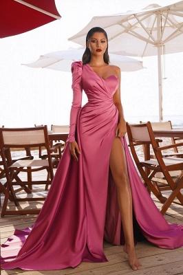 One Shoulder Prom Dresses Satin Side Split Evening Maxi Gowns_2