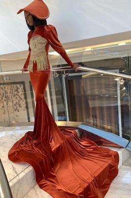 Velvet Long Sleeve Prom Dress Gold Appliques_3
