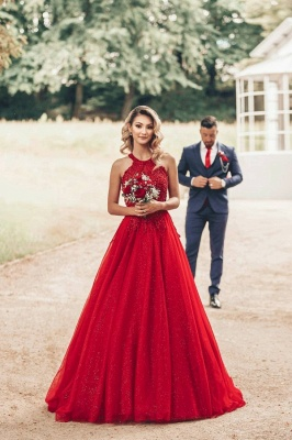 Cheap Red Lace Prom Dresses Jewel Floor Length Formal Gowns_1