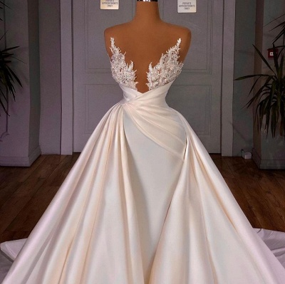 Chic Long Sleeves Satin Tulle Wedding Dress with Ruffles_4