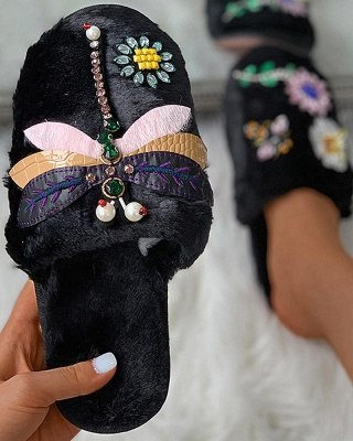 Floral Pattern Rhinestone Fluffy Slippers_9