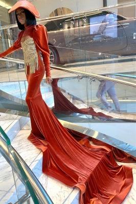 Velvet Long Sleeve Prom Dress Gold Appliques_2