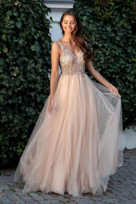 Cheap A Line Beadings V Neck Tulle Floor Length Prom Dresses_1