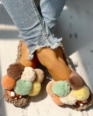 Villus Fluffy Casual Flat Sandals_9