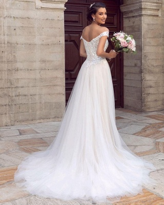 Sexy Floor Length Off the Shoulder White Lace Tulle Wedding Gowns_2