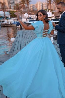 Sky Blue Princess Prom Dresses Short Sleeve Mermaid Evening Gowns_4