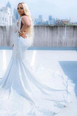 Glitter V-Neck affordable plus size prom dresses mermaid Evevning dress_5