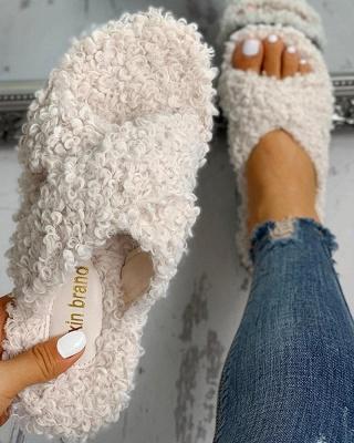 Solid Fluffy Crisscross Design Flat Sandals_16