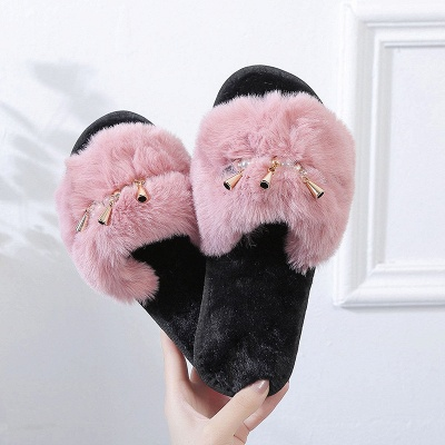 Beaded Metal Tassel Fluffy Slippers