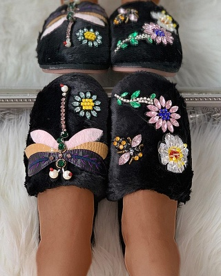 Floral Pattern Rhinestone Fluffy Slippers_10