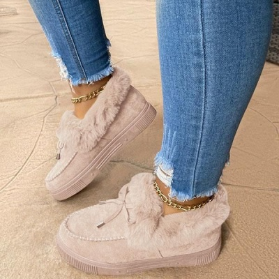 Fashion Daily Round Toe Fashion Warm Fur Flat boots On Sale On Sale_15