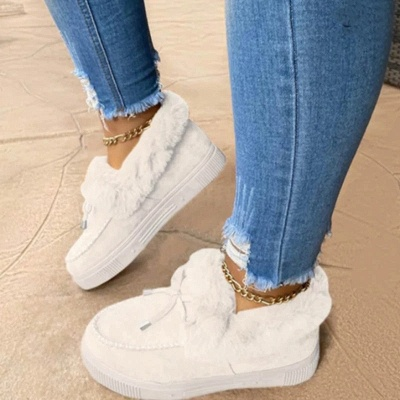 Fashion Daily Round Toe Fashion Warm Fur Flat boots On Sale On Sale_1