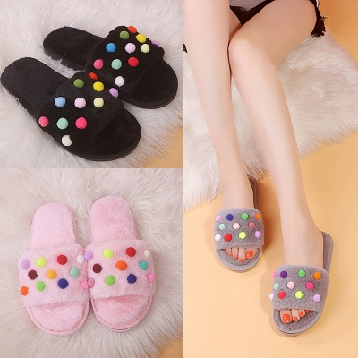 Pom Pom Colorblock Fluffy Slippersa_9