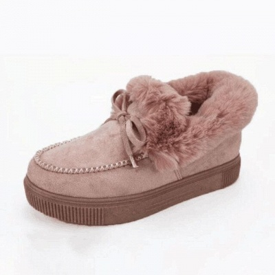 Fashion Daily Round Toe Fashion Warm Fur Flat boots On Sale On Sale_3